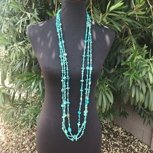 Navajo Sterling Silver Turquoise 3 Strand Necklace